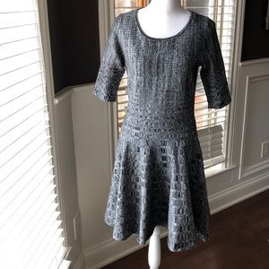 Ivanka Trump Gray Textured Ribbed Dress Fit Flare
